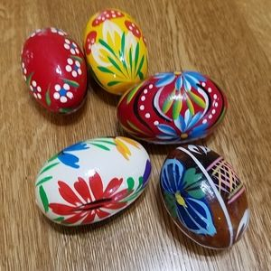 Other - Painted Wood Eggs, set of 5